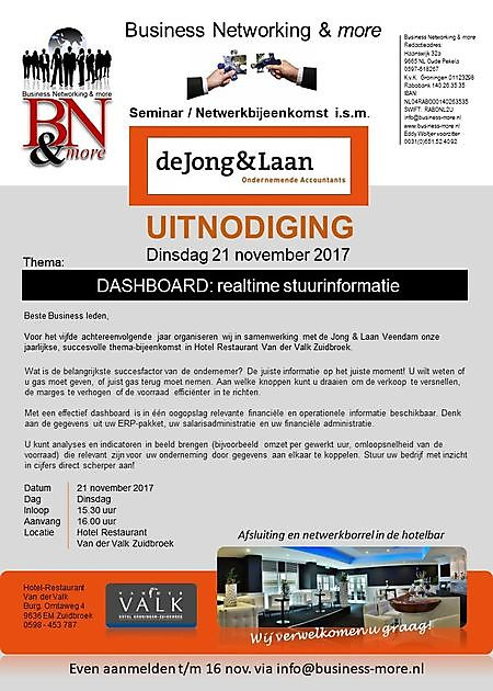 30 december 2017 Seminar BN&m - de Jong & Laan - Business Networking & more