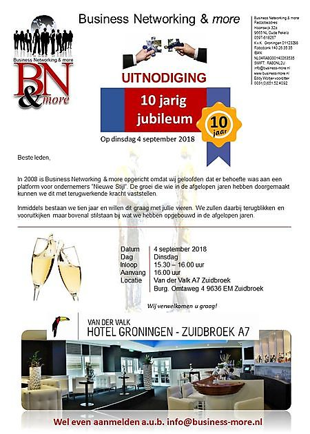 4 september 2018 !0 jarig Jubileum - Business Networking & more