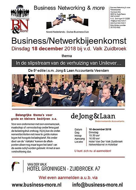 18 december 2018 Seminar i.s.m. Jong&Laan - Business Networking & more
