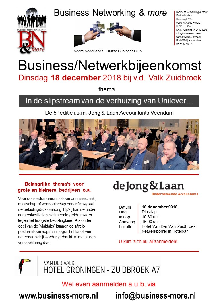 Seminar i.s.m. Jong&Laan - Business Networking & more