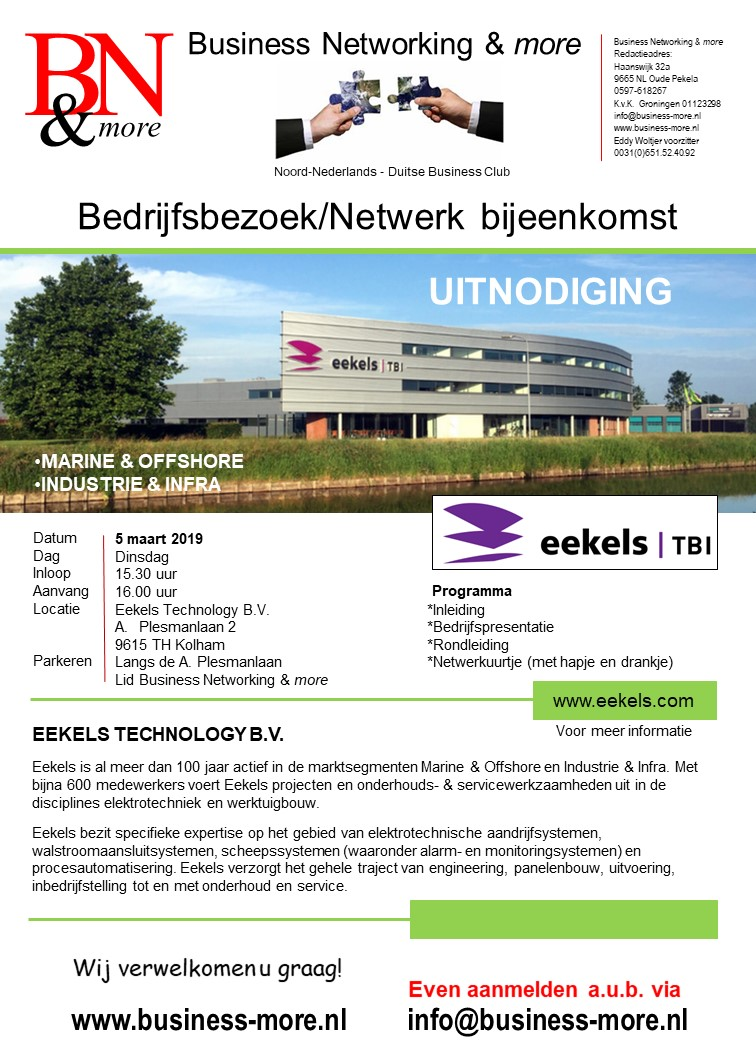 Bedrijfsbezoek Eekels Technology bv - Business Networking & more